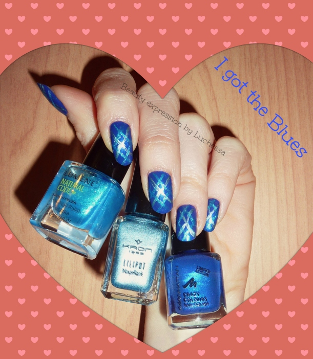 Blue Burlington style nails design