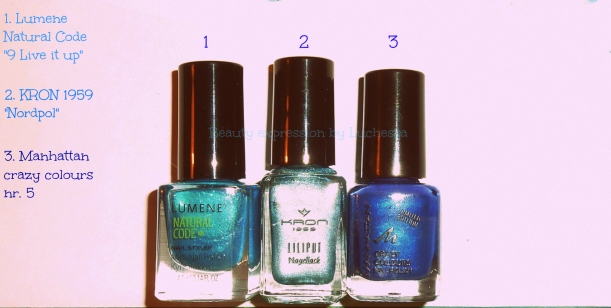 Manhattan Kron Lumene blue nail polishes
