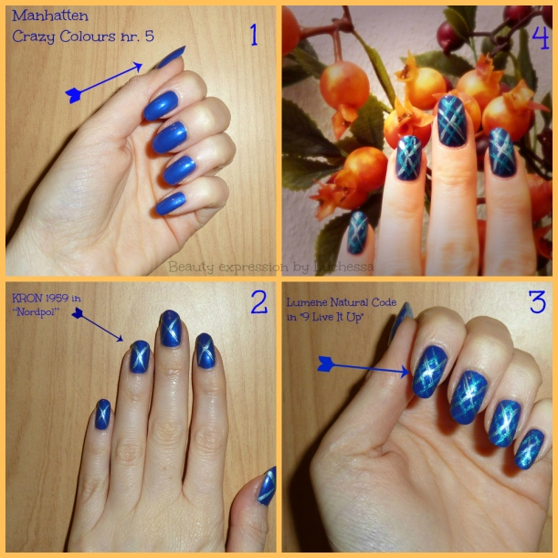 Blue Burlington style nail design