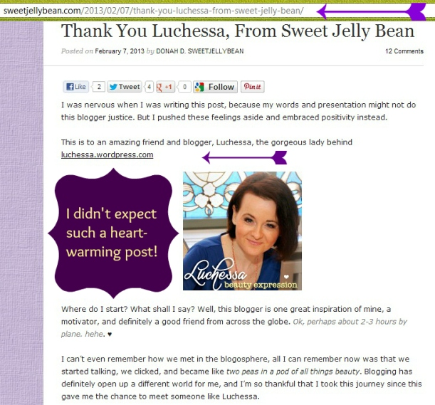 Sweet Jelly Bean blog post on Beauty expression by Luchessa
