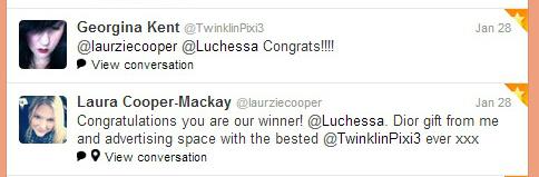Goodbye 2012 Giveaway winner tweet to Luchessa