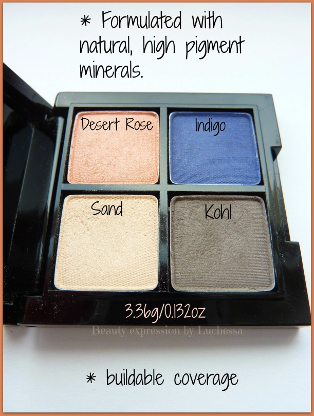 GloMinerals Cleo Mini Eye Shadow Quad desert rose kohl sand indigo