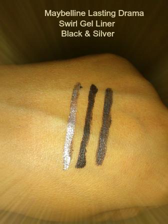 Maybelline Lasting Drama Swirl Gel Liner Black & Silver Swatch