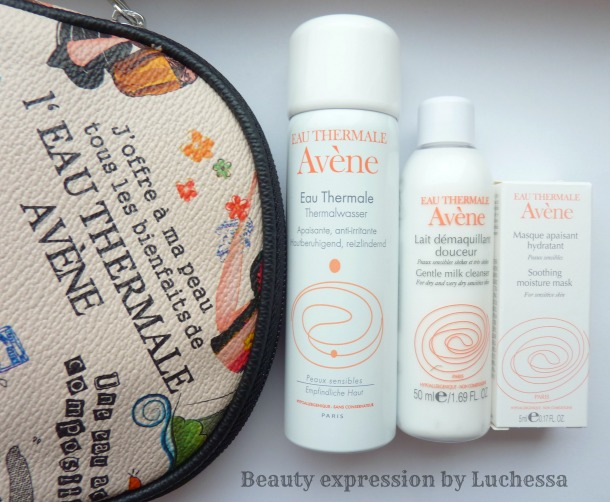 Avene Skin Care travel size kit and cosmetic bag