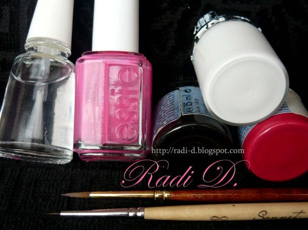 nail art tools and nail polishes