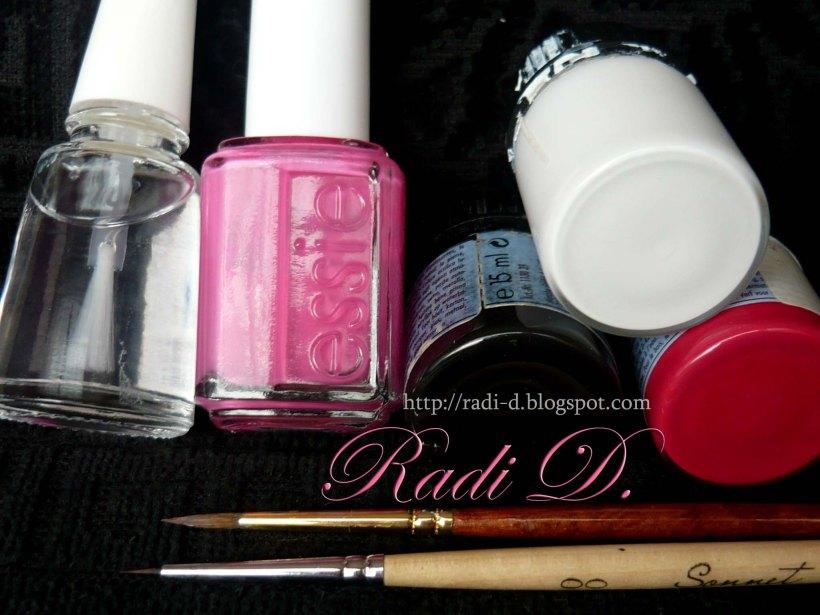 nail art tools and nail polishes