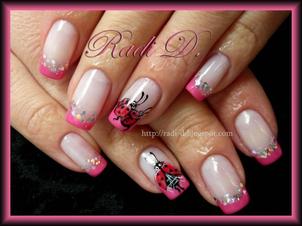 ladybugs nail design