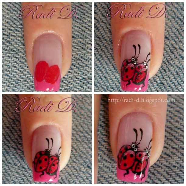 ladybugs nail design steps