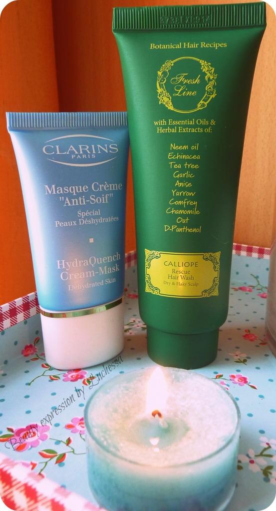 Fresh line  Calliope hair wash, Clarins HydraQuench Cream-Mask