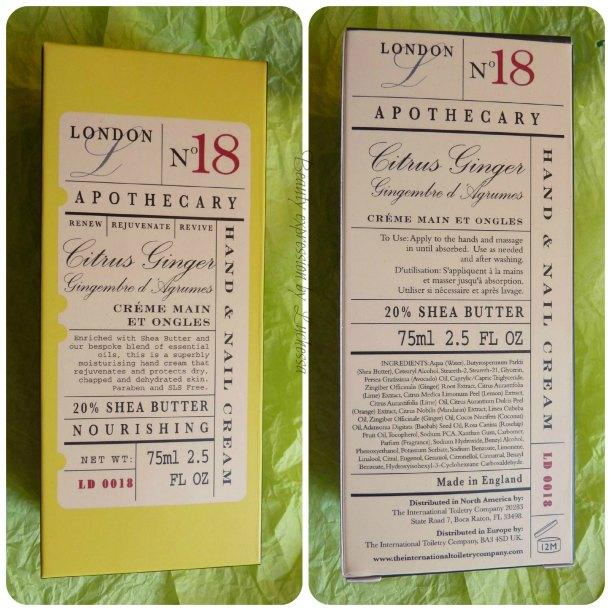Citrus Ginger hand & nail cream london apothecary