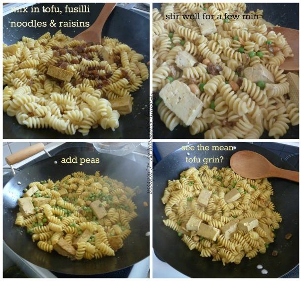Fusilli Noodles with tofu, rasins and peas