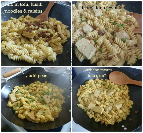 Fusilli Noodles with tofu, rasins and peas